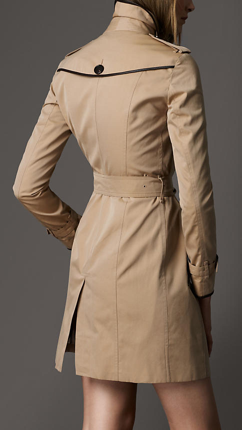 Long Cotton Gabardine Leather Trim Trench Coat | Burberry
