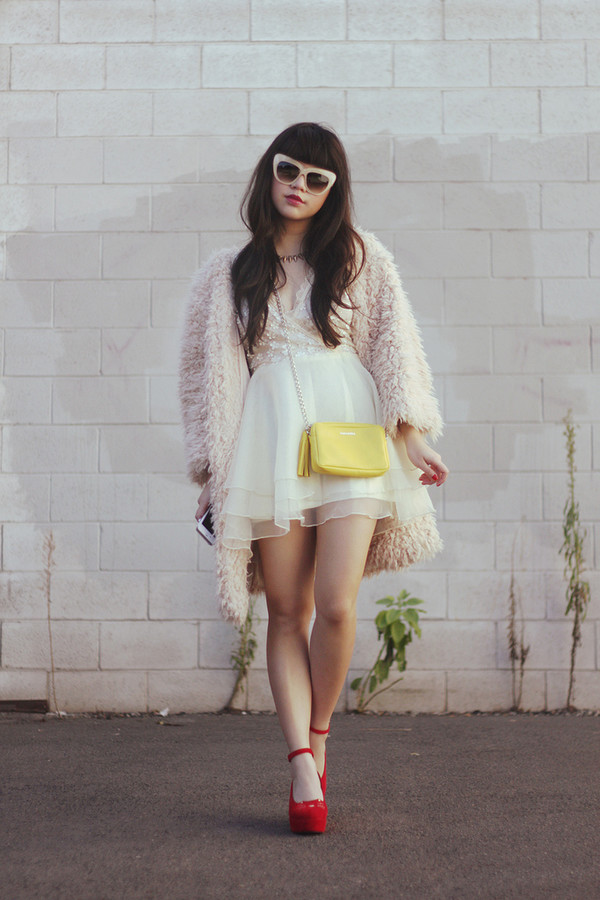 fur coat fur shaggy shaggy coat clothes pink white winter outfit white sunglasses bag yellow bag white dress pastel pastel dress pastel coat pastel pink red shoes mini bag platform shoes