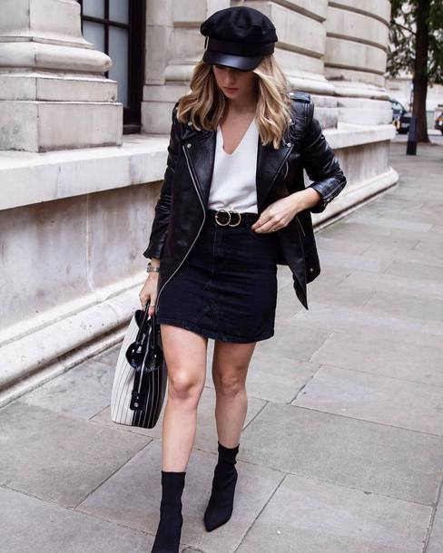 hat tumblr fisherman cap skirt midi skirt black skirt boots black boots sock boots top white top jacket black jacket black leather jacket