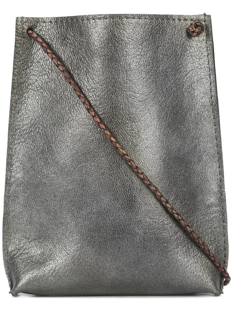 B May metallic women pouch leather grey bag