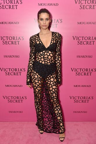 dress black dress maxi dress see through see through dress sara sampaio sandals bra panties mesh mesh dress plunge dress victoria's secret victoria's secret model