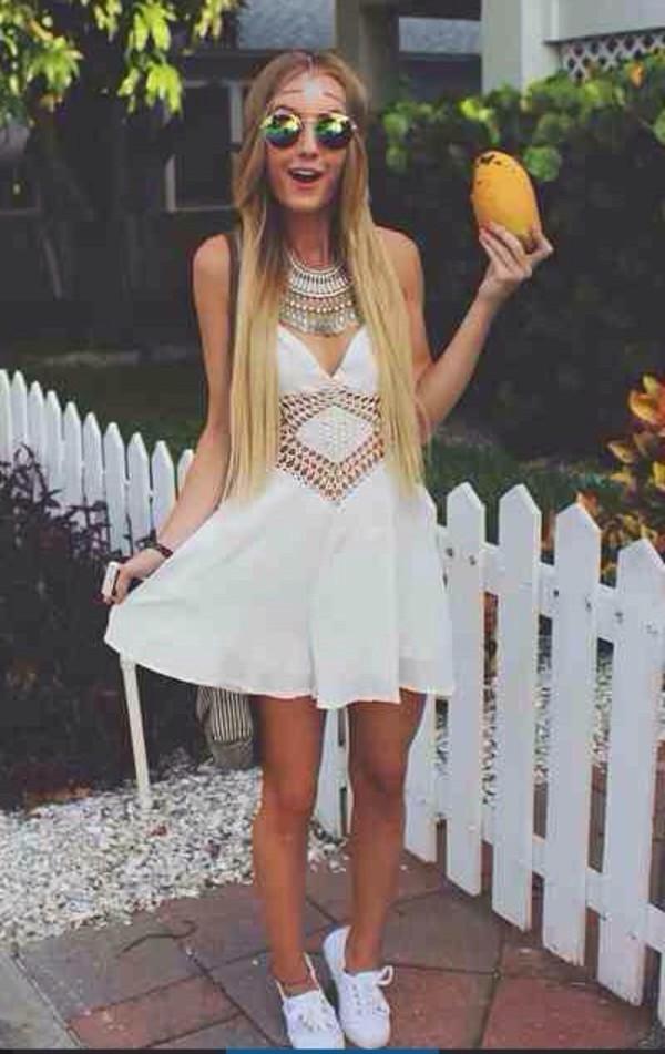 Dress: white, boho, bohemian, hippie, ethnic, festival ...
