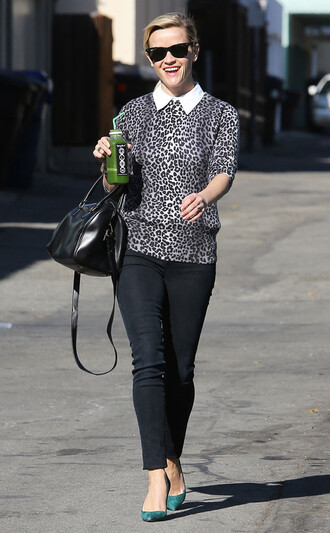 leopard print animal print bag fall outfits reese witherspoon sweater