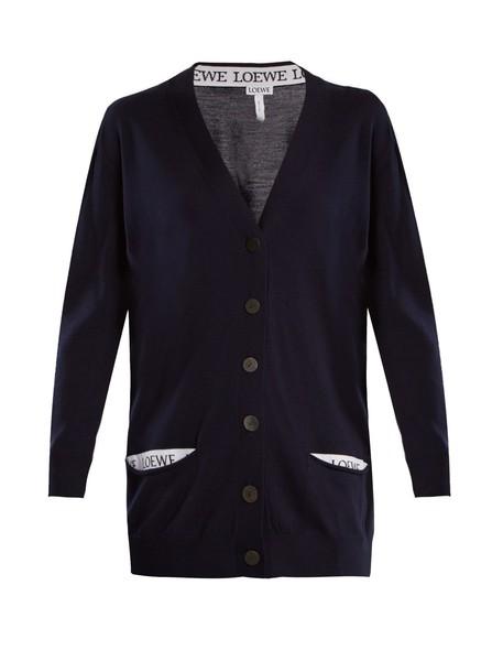 LOEWE cardigan cardigan wool navy sweater