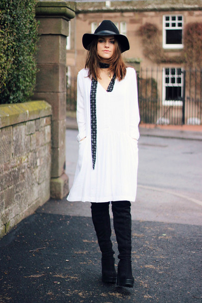 the little magpie blogger white dress v neck dress fedora long sleeve dress hat