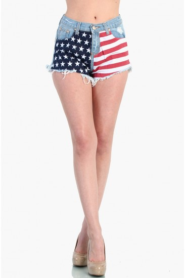 LoveMelrose.com From Harry & Molly   High Waisted American Flag Shorts