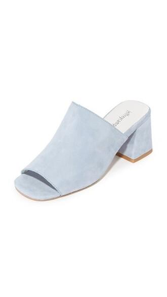 light mules blue light blue shoes