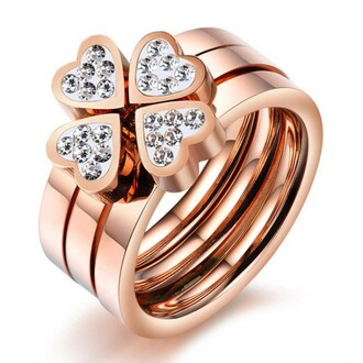 jewels three in one ring set heart shaped ring set cz inlaid ring set rose gold ring three pieces heart design titanium steel ring with cubic zirconia inlaid evolees.com