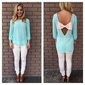 blouse,bows,mint,pants,baby blue tiffany blue blouse bow,open back with bow,light blue,shirt