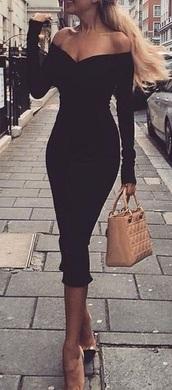 dress,black dress,black,long sleeves,midi dress,classy,fashion,vintage,off the shoulder,off-shoullder neckline,tight,women,feminine