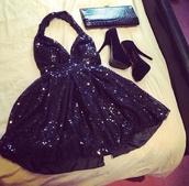 dress,little black dress,black,black high heels,black prom dress,short black dress,black sequin dress,sequin dress,platform shoes,short party dresses,halter neck dress,shoes,black dress,black heels,high heels,sparkly dress,bag,prom dress,shiny dress,sparkle,sequins,heels,sparkley dress,pretty,pretty dress!,formal dress,glitter dress,glitter,short dress,pretty as fuck