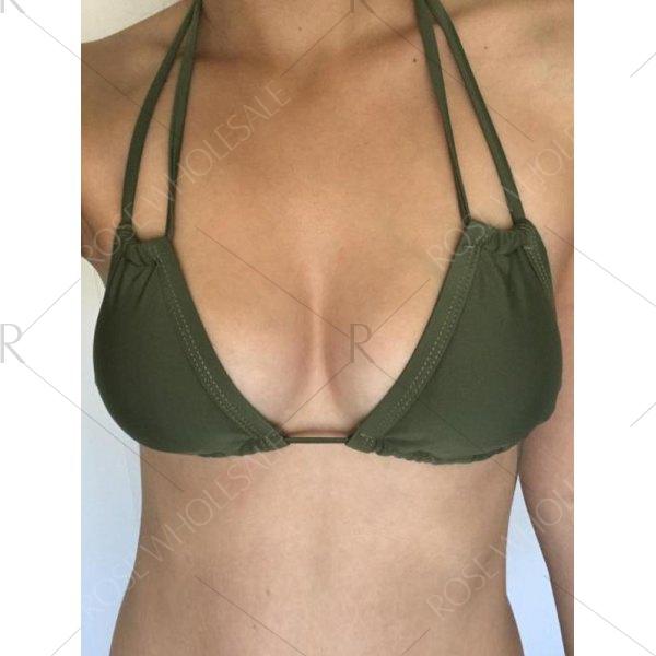 Stylish Women's Halter String Army Green Bikini