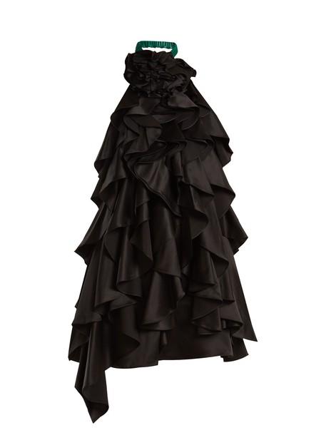 dress silk dress back open ruffle embellished silk black