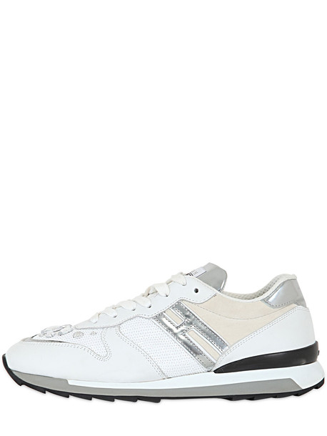 HOGAN REBEL suede sneakers embellished sneakers leather suede silver white shoes