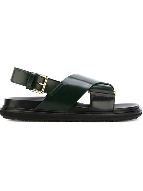 MARNI women sandals leather green shoes