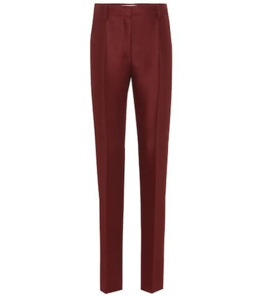 Valentino Wool and mohair straight pants in red