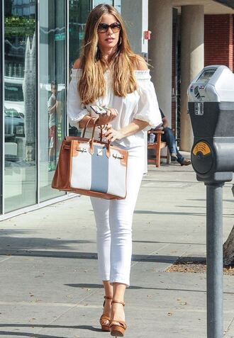 blouse jeans white sofia vergara sandals sunglasses off the shoulder purse