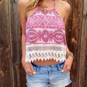 shirt,paisley,top,blouse,tank top,etnic,halter neck top,crop tops,lace top,pattern