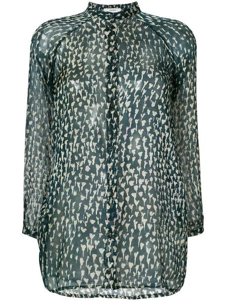 humanoid blouse button up blouse sheer women blue silk top