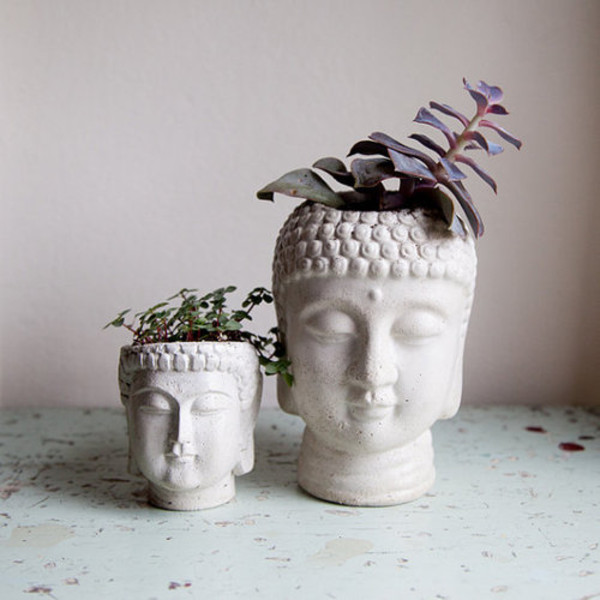 Buddha Head Planter Cement Plant Pot Buddha Head