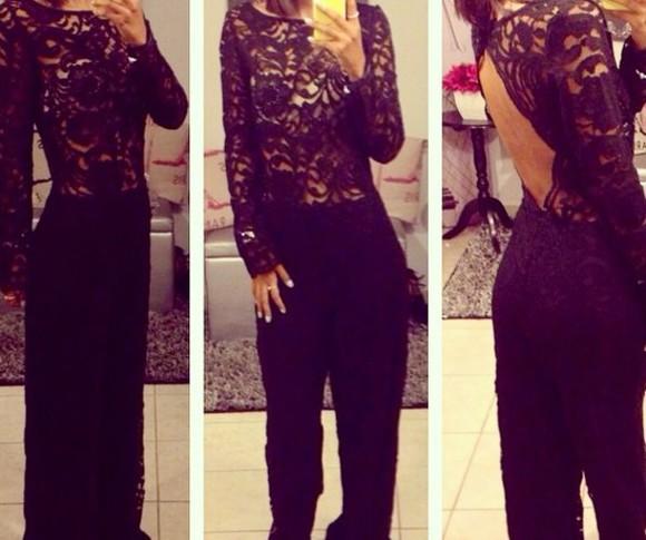 lace up jumpsuit black