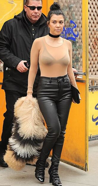 top bodysuit kourtney kardashian pants nude boots choker necklace fashion week 2016 kardashians