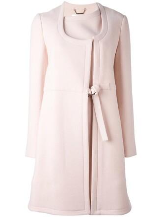 coat women midi silk wool purple pink