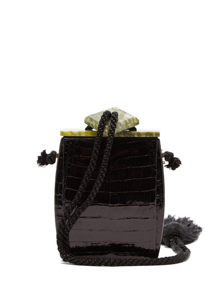 tassel clutch black green bag