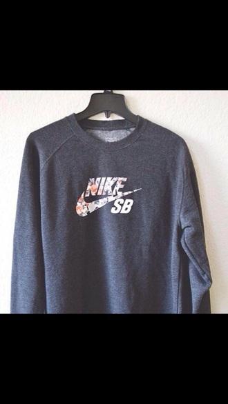 sweater grey print nike hoodie