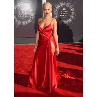 dress prom v neck dress backless slit rita ora red dress sexy dress side split