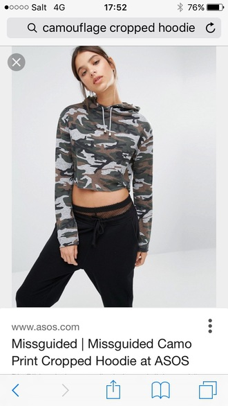 sweater camouflage cropped hoodie