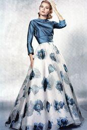 dress,grace kelly,maxi dress,long dress,floral dress,ball gown dress,blue dress,hairstyles,actress,retro dress,retro