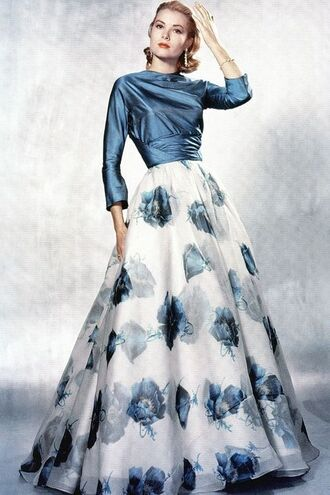 dress grace kelly maxi dress long dress floral dress ball gown dress blue dress hairstyles actress retro dress retro