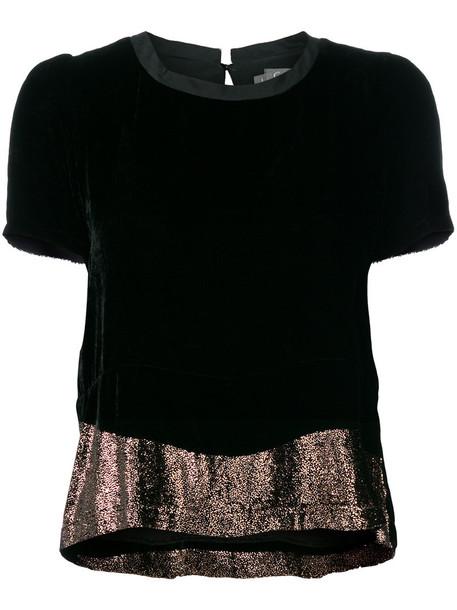 Cotélac t-shirt shirt t-shirt women black silk top