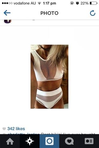swimwear bikini white white swimwear mesh bodysuit mesh bikini summer outfits swimming costume