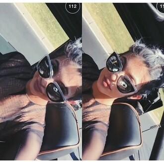 sunglasses kylie jenner kardashians black white festival