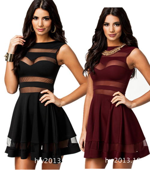 2014 Black Sexy Mesh Panel Club Skater Dress Ladies Transparent Mini Party Summer Dresses hollow out patchwork sexy club   Amazing Shoes UK