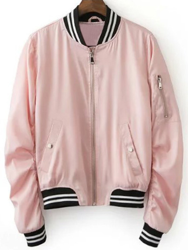 jacket zaful pink pastel bomber jacket baseball jacket trendy fashion casual style girly hippie casual chic instagram indie