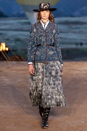 skirt,dior cruise collection,dior,midi skirt,grey skirt,feather skirt,boots,black boots,flat boots,blazer,printed blazer,hat