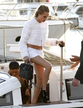 jacket,white jacket,cara delevingne,sandals,shoes