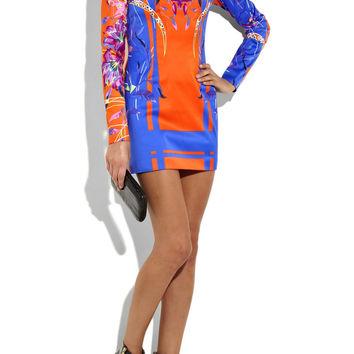 Versace Orange Floral Print Stretch Statin Dress — Bib   Tuck on Wanelo