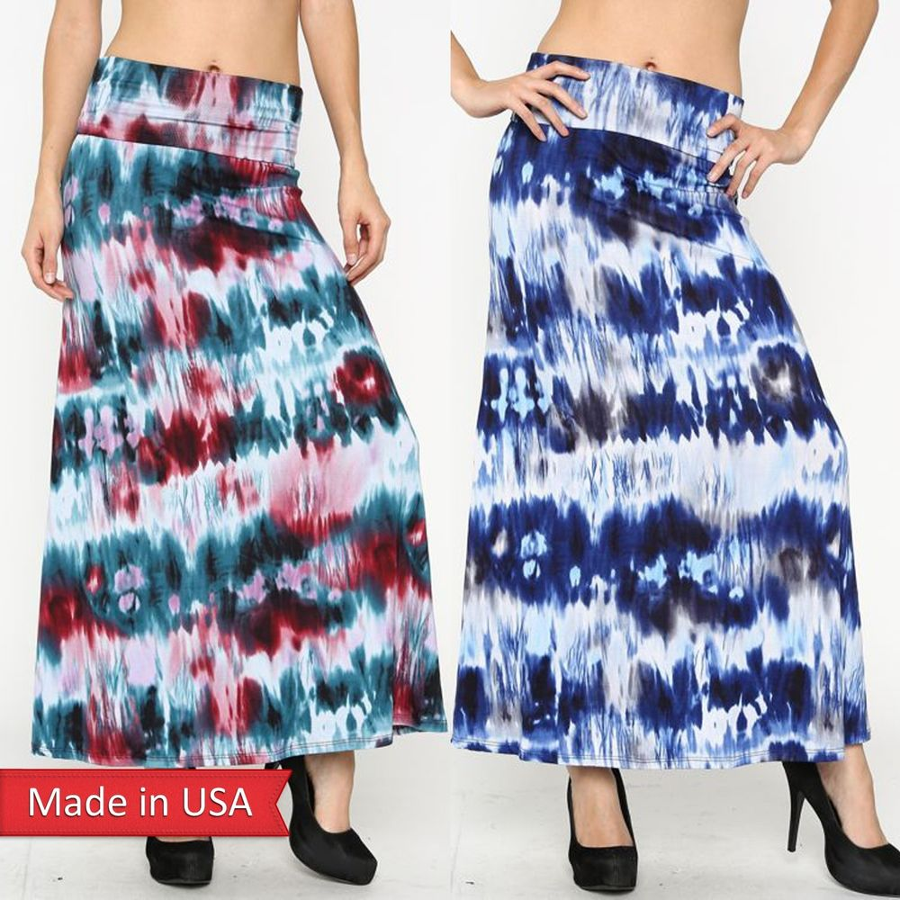 Summer Boho Hippie Style Fashion Color Tie Dye Ombre Fold Over Maxi Skirt USA