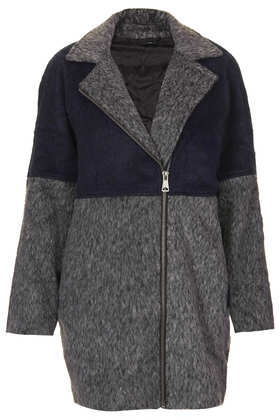 Colour Block Wool Jacket - Topshop