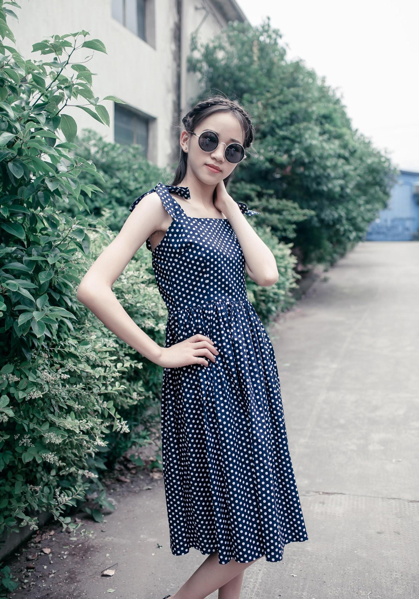 Square cut neck line polka dot dress
