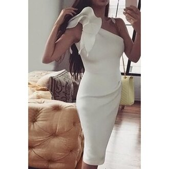 dress white midi cocktail dress sexy one-shoulder sleeveless bodycon solid color dress for women sexy hot fashion style party rose wholesale-dec one shoulder ruffle dress ruffle white dress midi dress