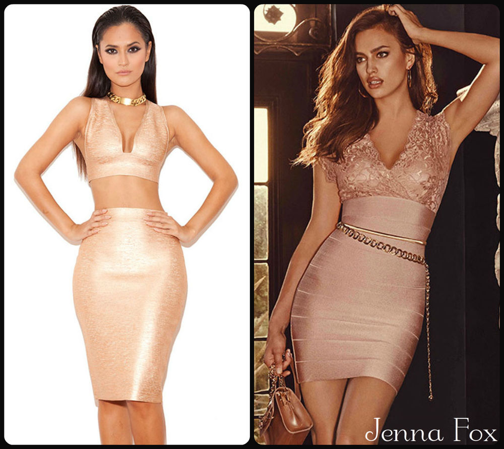 New sexy pink rose gold metallic crop lace top skirt bandage bodycon party dress