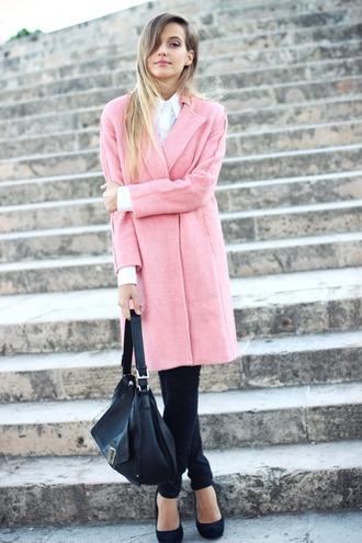 coat white shirt pink coat black jeans black stilettos blogger