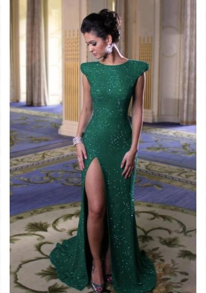 dress green dress formal dress long green dress glitter dress slit dress