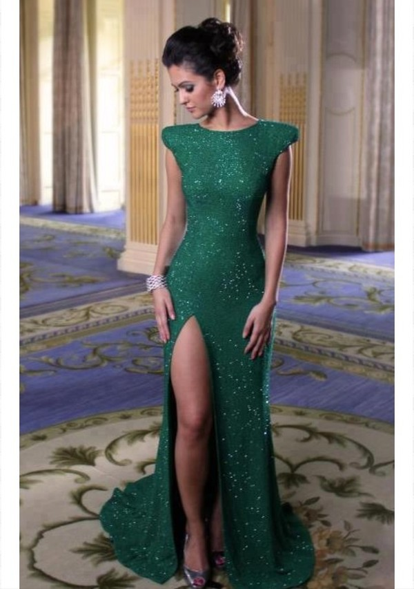 dress glitter dress green dress slit dress long green dress formal dress