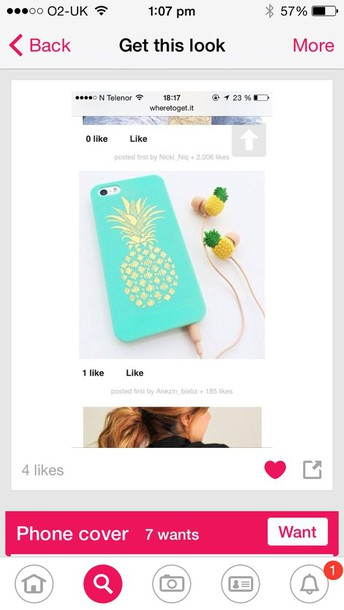 phone cover it's a blue phone case with a yellow pineapple in the front